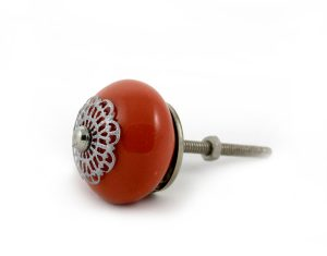 orange ceramic door knob